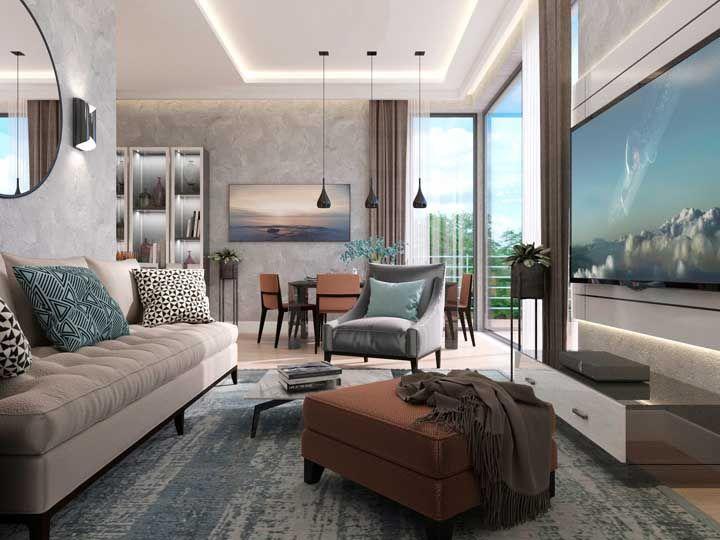 Sala dois ambientes com cores e texturas padronizadas