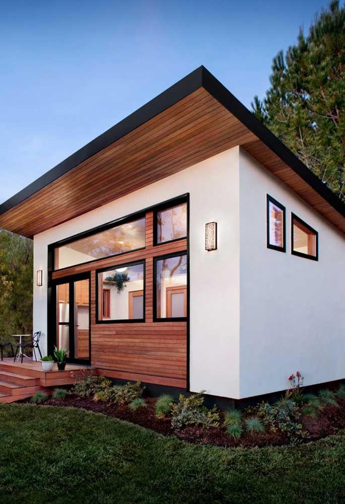 Os projetos modernos e arrojados de arquitetura podem muito bem ser adaptados para as mini casas, como essa aqui
