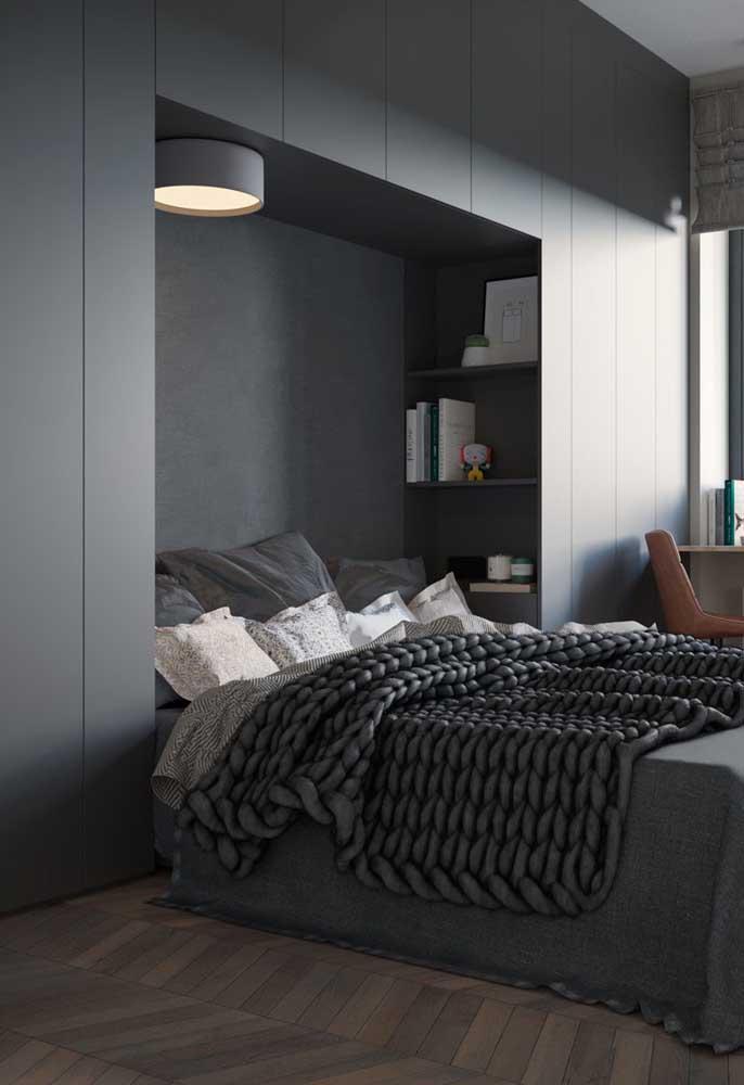 O quarto cinza foi feito para pessoas modernas, sofisticadas e que gostem de ambientes mais sóbrios.