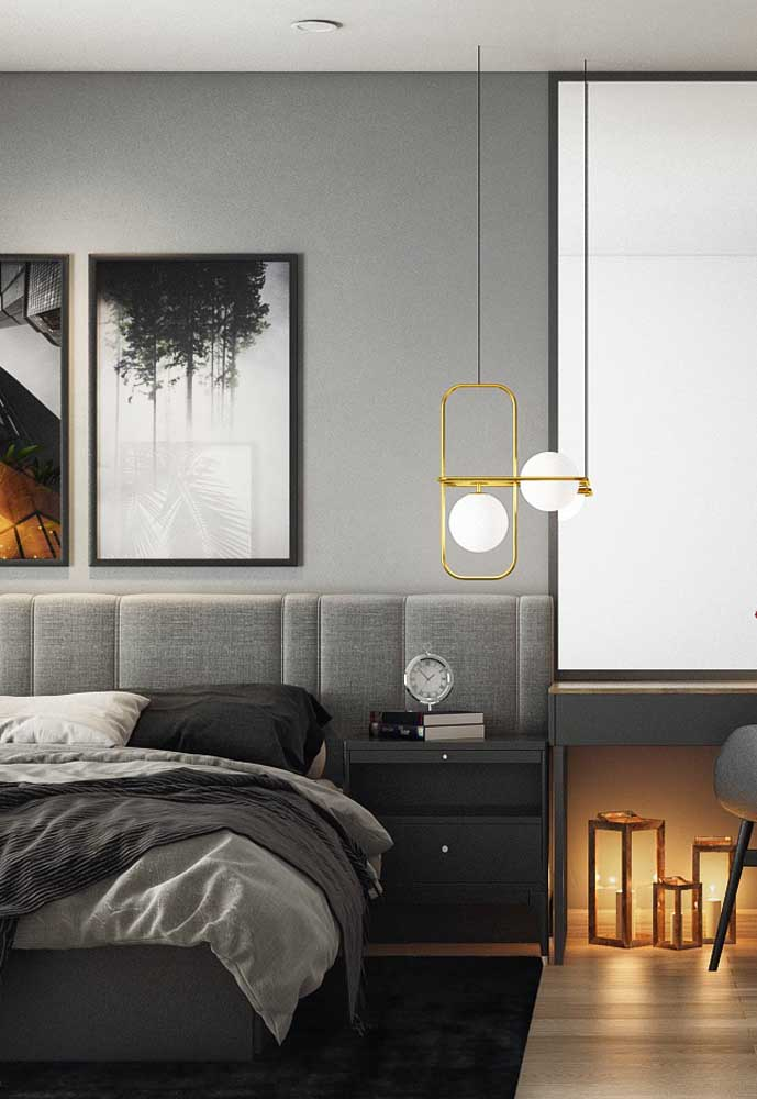 Você pode combinar diferentes tons de cinza na hora de fazer a decoração do quarto.