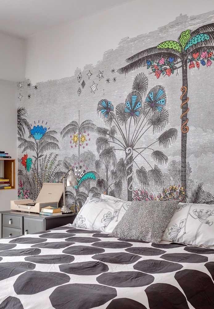 Ao invés de colocar papel de parede, o que acha de fazer uma pintura linda como essa?