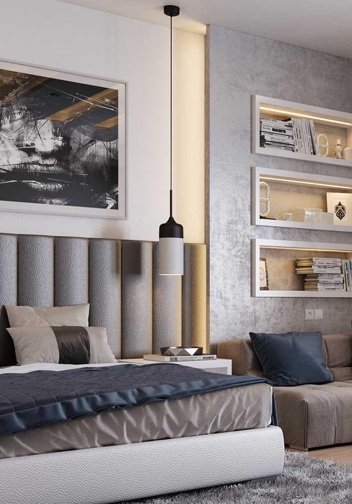 Mais um modelo de quarto cinza e azul em que você pode acrescentar outros tons na decoração.
