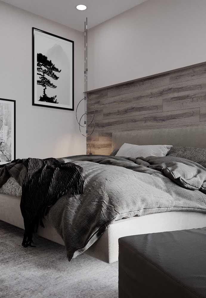 Invista em uma bela cabeceira na sua cama para destacar a parede.