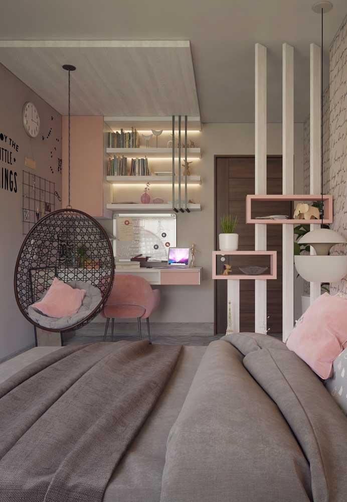 Olha que tudo esse quarto cinza e rosa. Perfeito quartos de adolescentes e jovens.