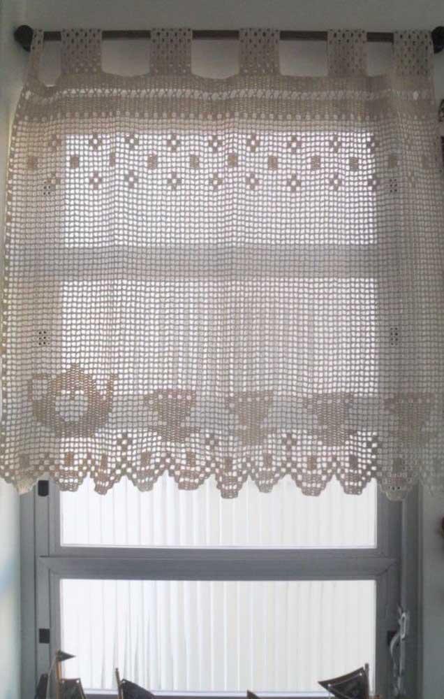 Cortina de crochê para cozinha com desenhos de bule e xícara
