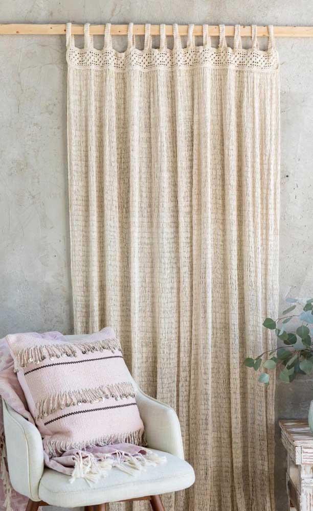Cortininha simples e muito charmosa de crochê para decorar o ambiente rústico e despojado