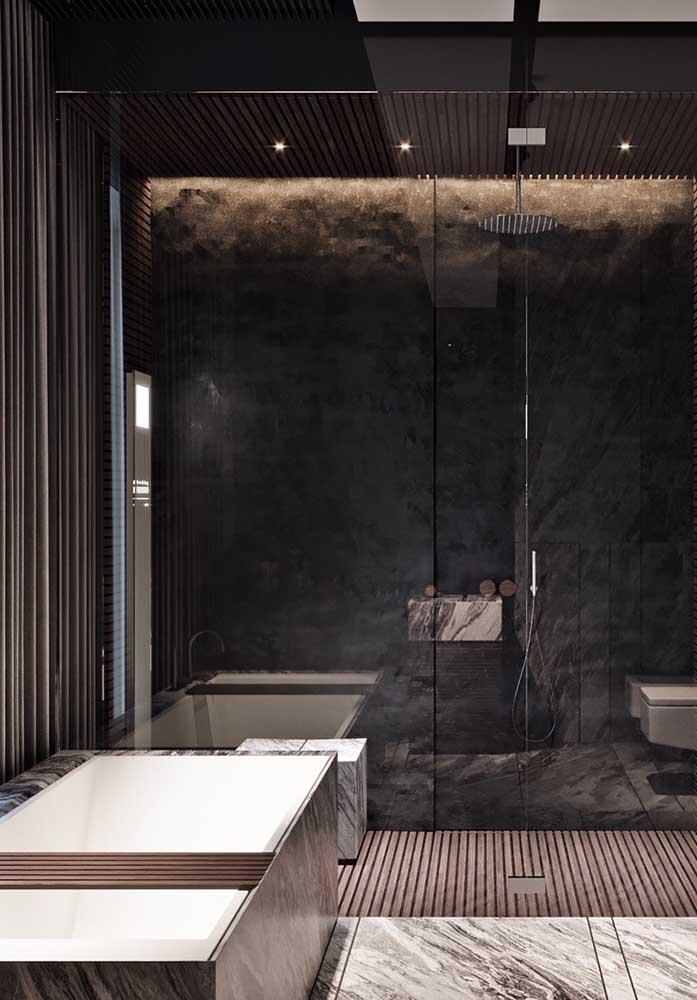 Preto: a cor da elegância. Para um banheiro de luxo não poderia haver escolha melhor