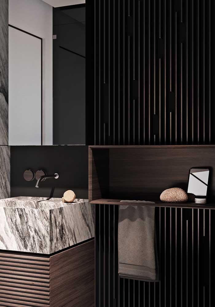 Mármore e madeira: a combinação perfeita para um ambiente que esbanja luxo e sofisticação