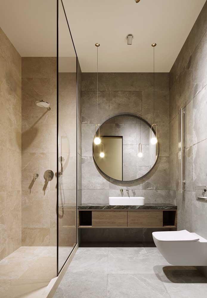 Gabinete suspenso para banheiro de luxo. A bacia sanitária segue a mesma ideia