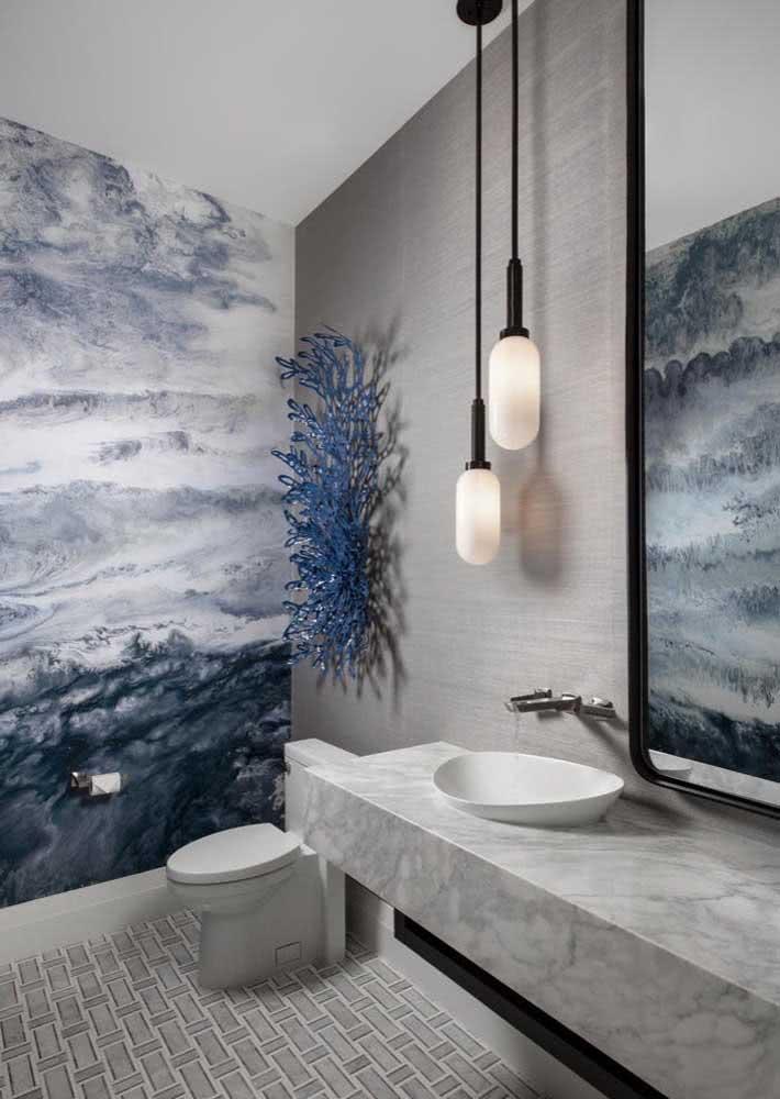 As manchas e desenhos abstratos são outra opção na hora de escolher um papel de parede que não seja tão chamativo ou não tenha formas tão definidas.
