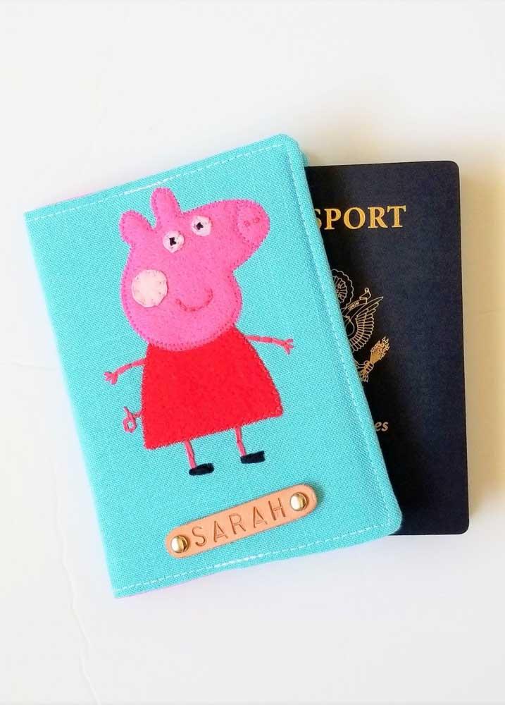 Porta passaporte da Peppa Pig em tecido: uma ótima opção para crianças