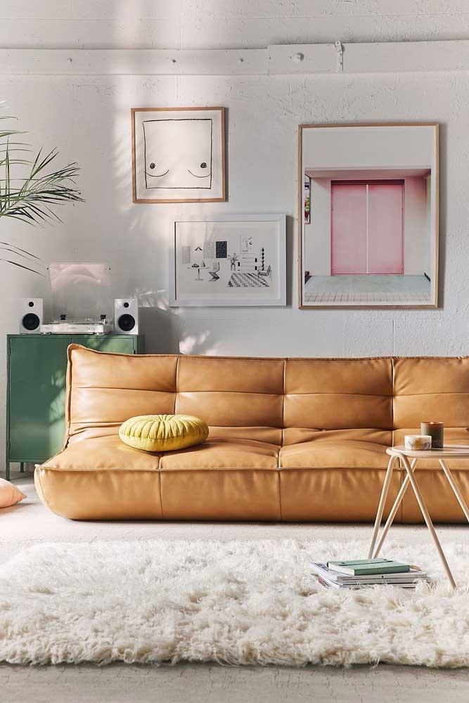 Sofá de design moderno em couro sintético