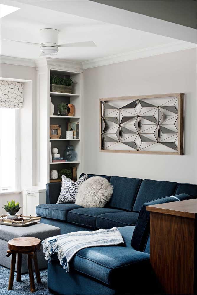 Sofá azul em chenile: opção elegante e acolhedora