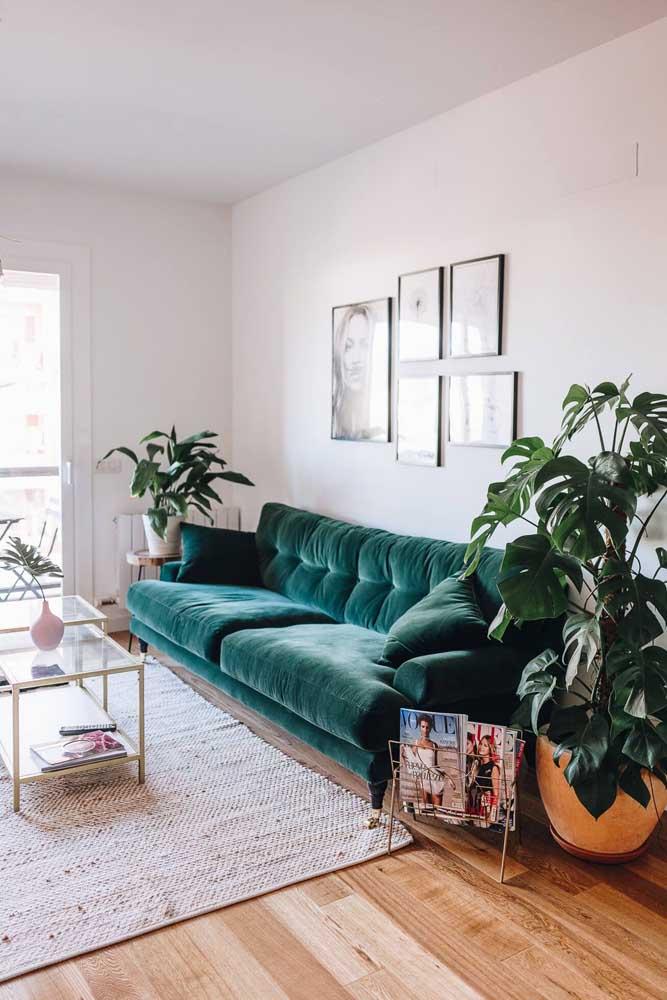 Tapete de fibra natural em cor clara para contrastar com a exuberância do sofá de veludo verde escuro