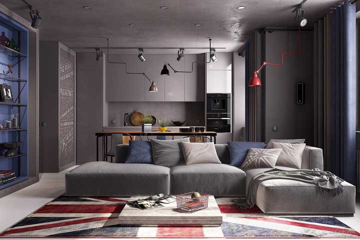 A bandeira britânica forra o chão dessa sala moderna
