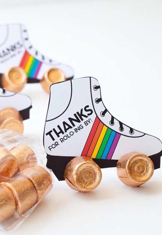 Que ideia criativa! Rodinhas de patins feitas de chocolate
