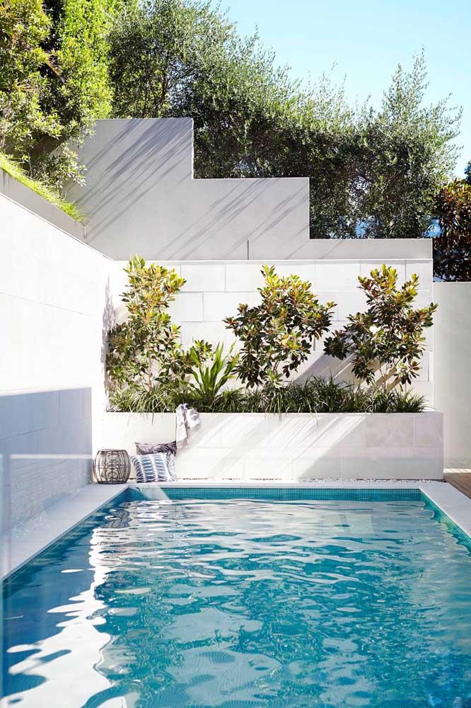 A área da piscina ficou mais bonita com o pequeno jardim no canteiro