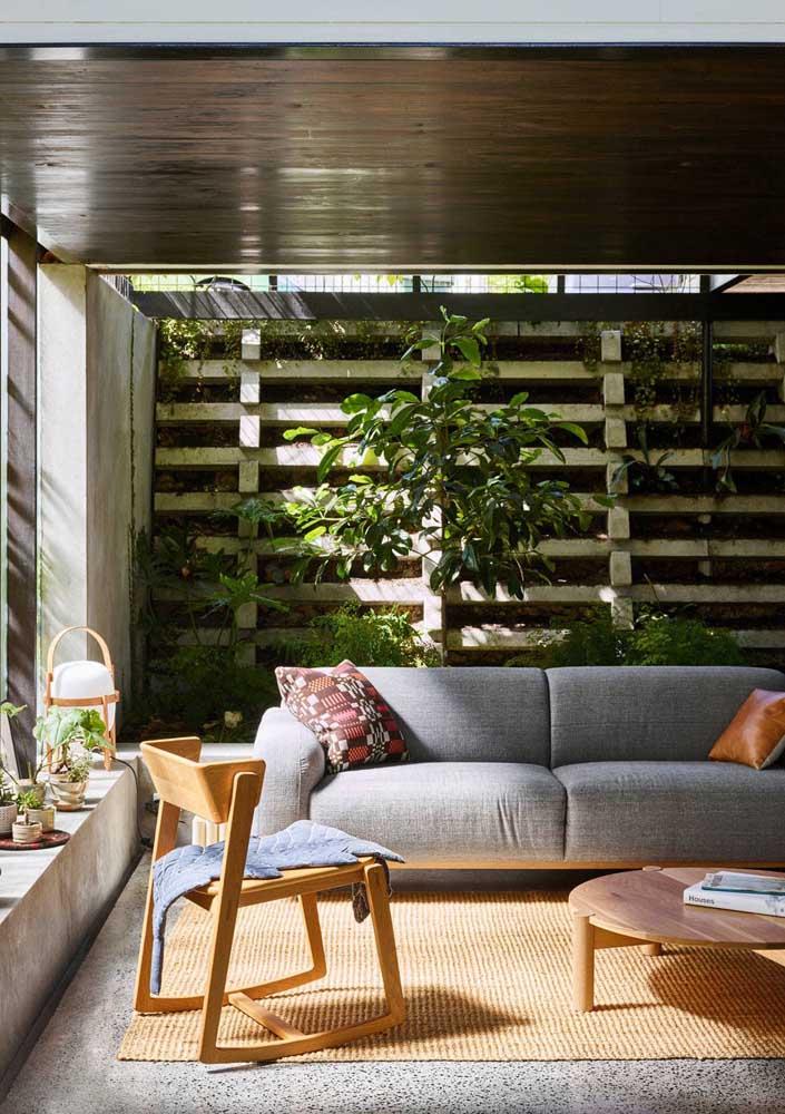 Jardim vertical em alvenaria para a sala de estar da casa