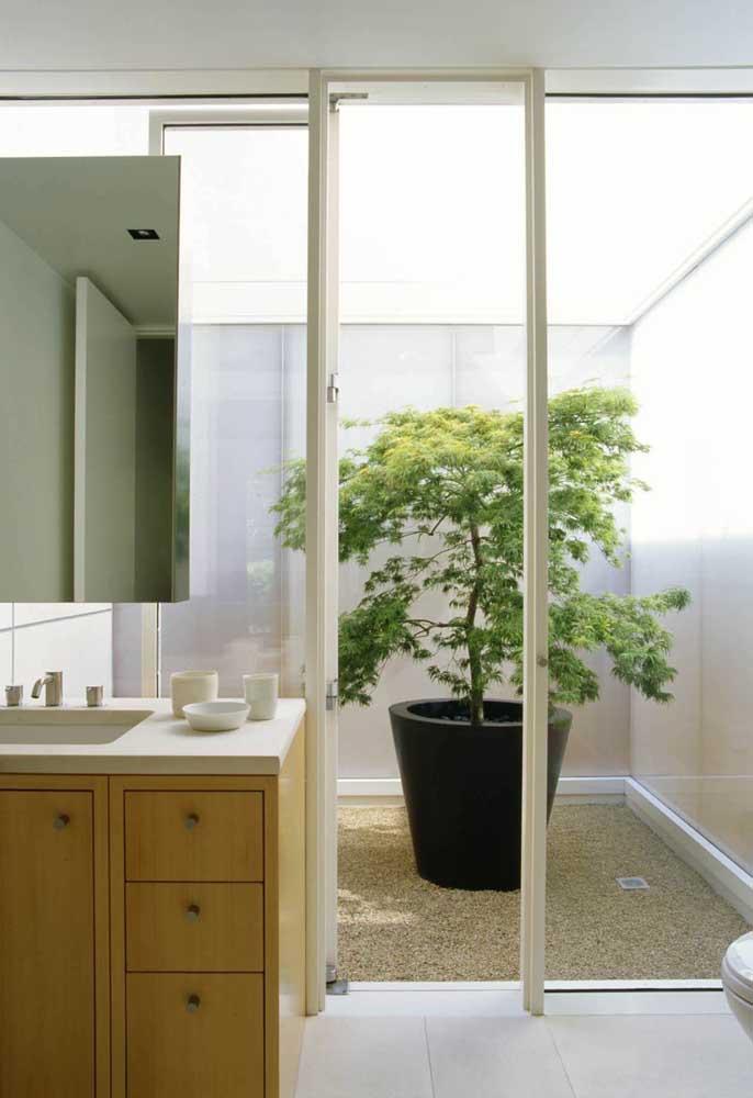 Não precisa de muito para criar o seu jardim de inverno; aqui, a escolha foi a planta no vaso e o chão de pedregulhos