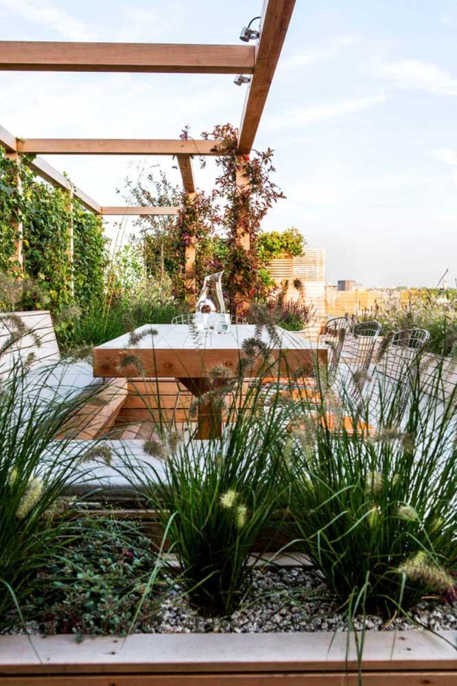 A área do jardim pode mesclar vasos com plantas ao solo, gramados e paredes vivas