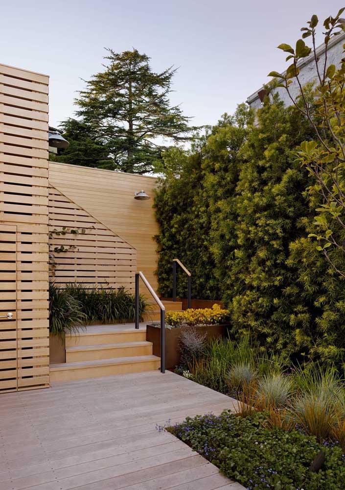 A entrada da casa em madeira combinou muito bem com a cerca viva e as pequenas plantas no chão