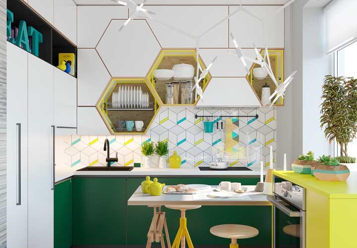 Nichos em formato hexagonal: modernos e despojados