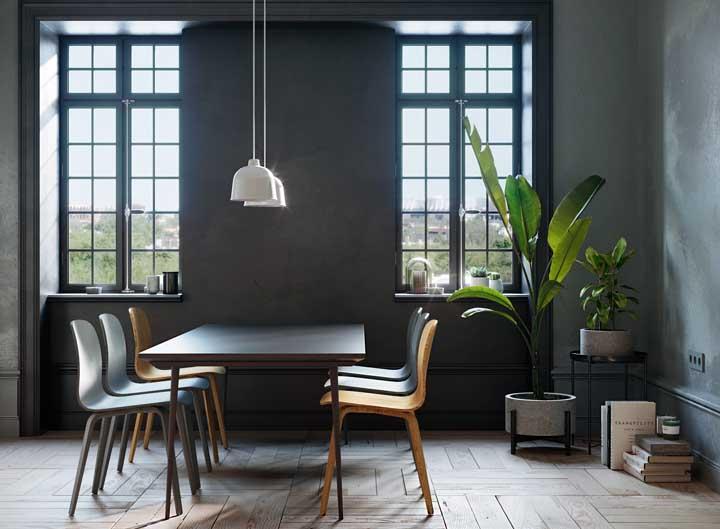 Mesa e parede da mesma cor, resultado: efeito visual de unidade incrível