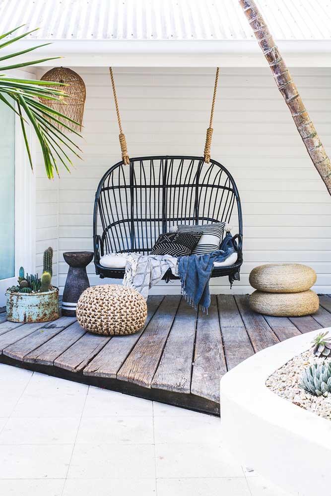 Namoradeira balanço para a varanda externa: lugar perfeito para descansar e receber visitas
