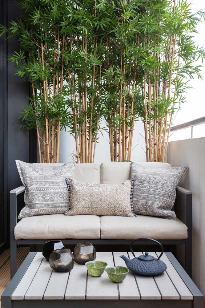 À frente dos bambus, a namoradeira se torna o cenário ideal para os fins de tarde