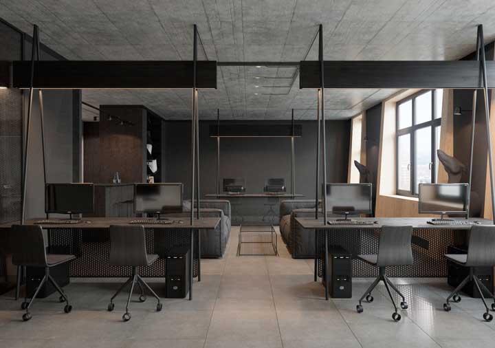 Escritório confortável e elegante no estilo industrial