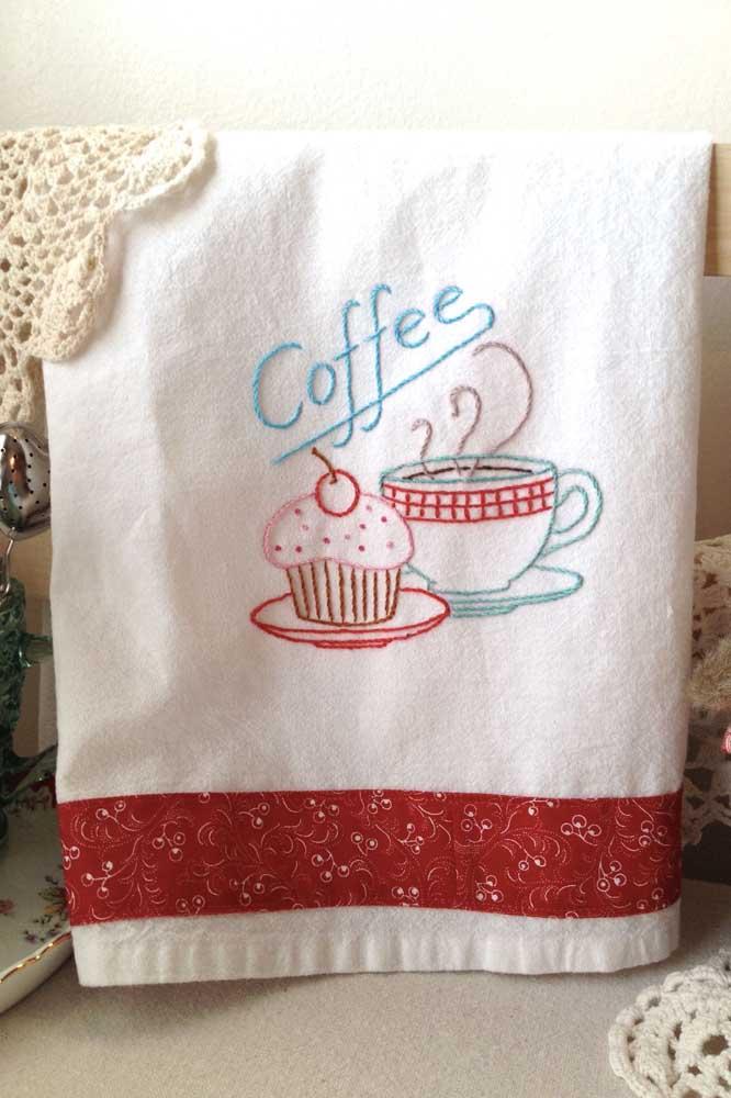 Ótima dica para o cantinho do café: um pano de prato no tema!