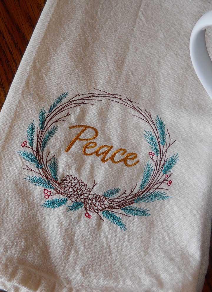 Paz! Vai bem em todo lugar, até na estampa do pano de prato