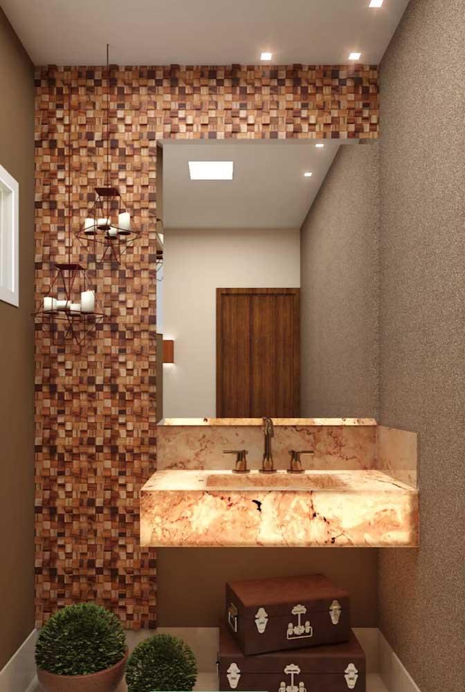 Placas de Pedra ferro em mosaico para o lavabo rústico