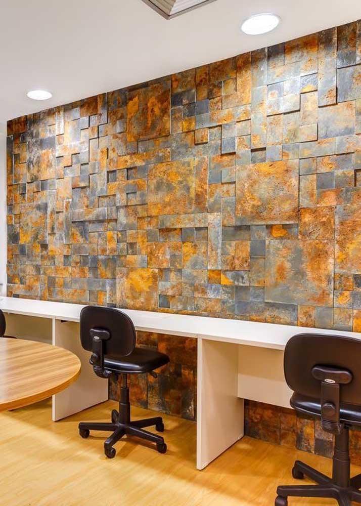 Pedra ferro também combina com escritórios e ambientes corporativos