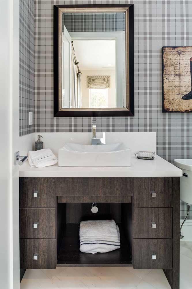 Papel de parede xadrez para o lavabo; toque de sobriedade e estilo ao ambiente