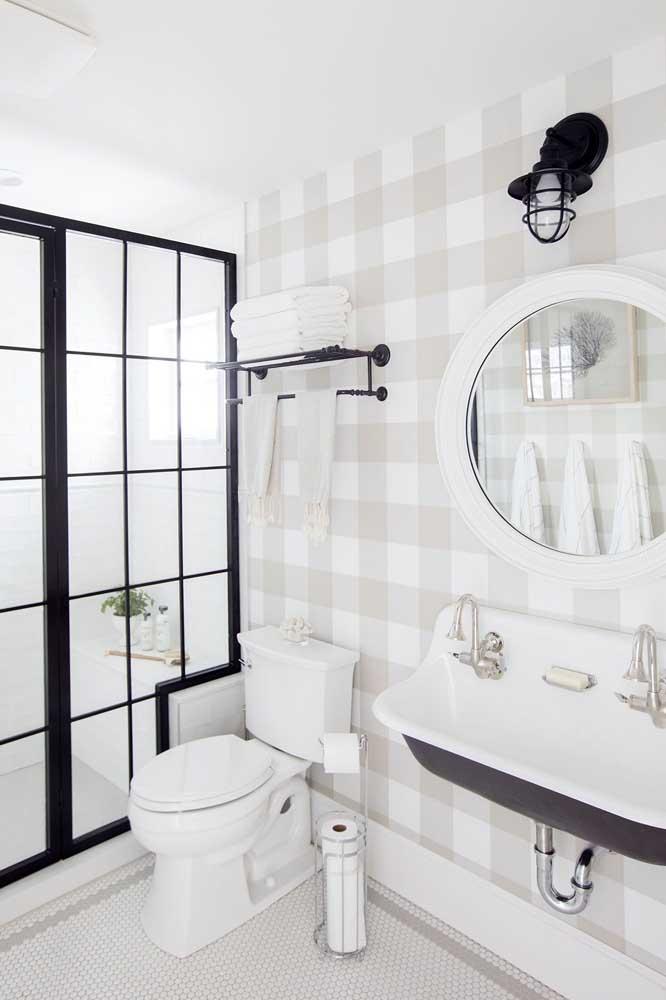 Papel de parede xadrez em cores claras para o lavabo em tons de preto e branco