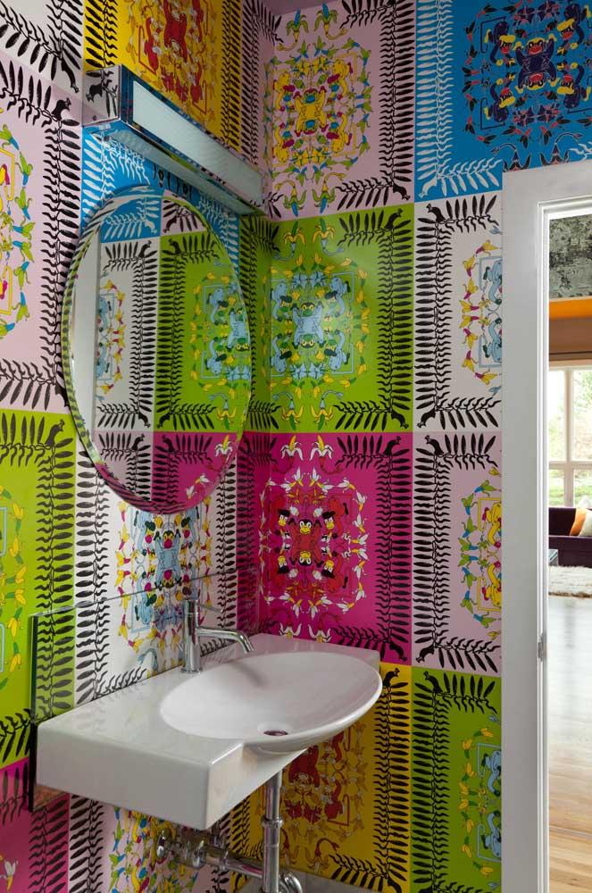 Para você que busca uma inspiração de papel de parede ousado e irreverente, esse modelo é ideal
