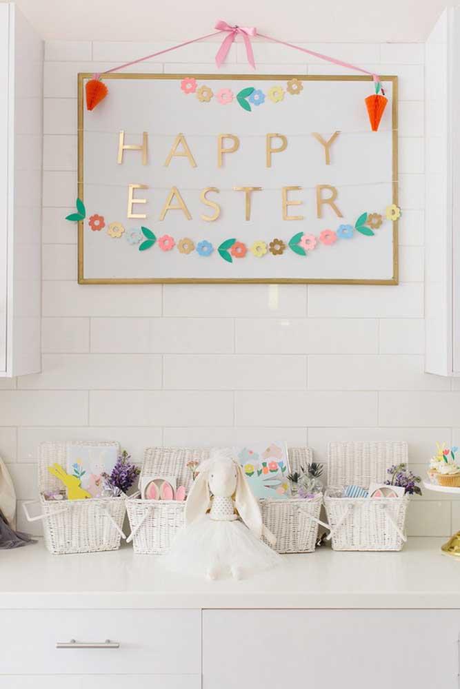 Cestas de Páscoa em tons pastéis para crianças