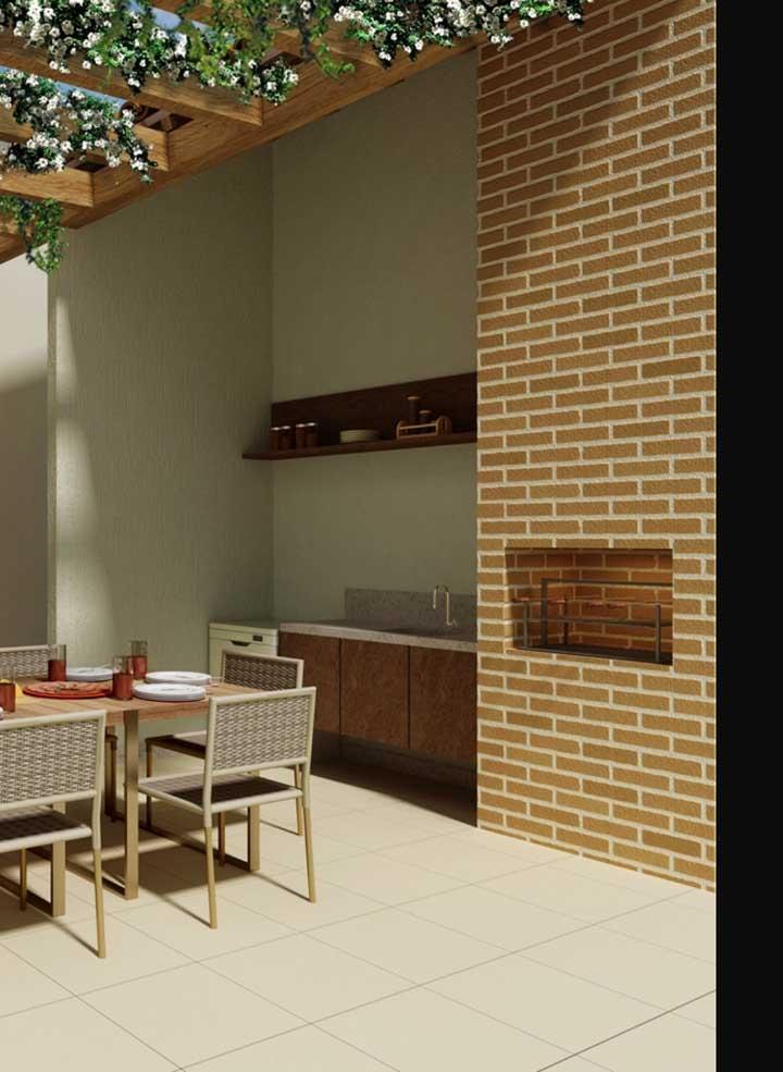 Espaço gourmet clássico com churrasqueira de tijolo e pia