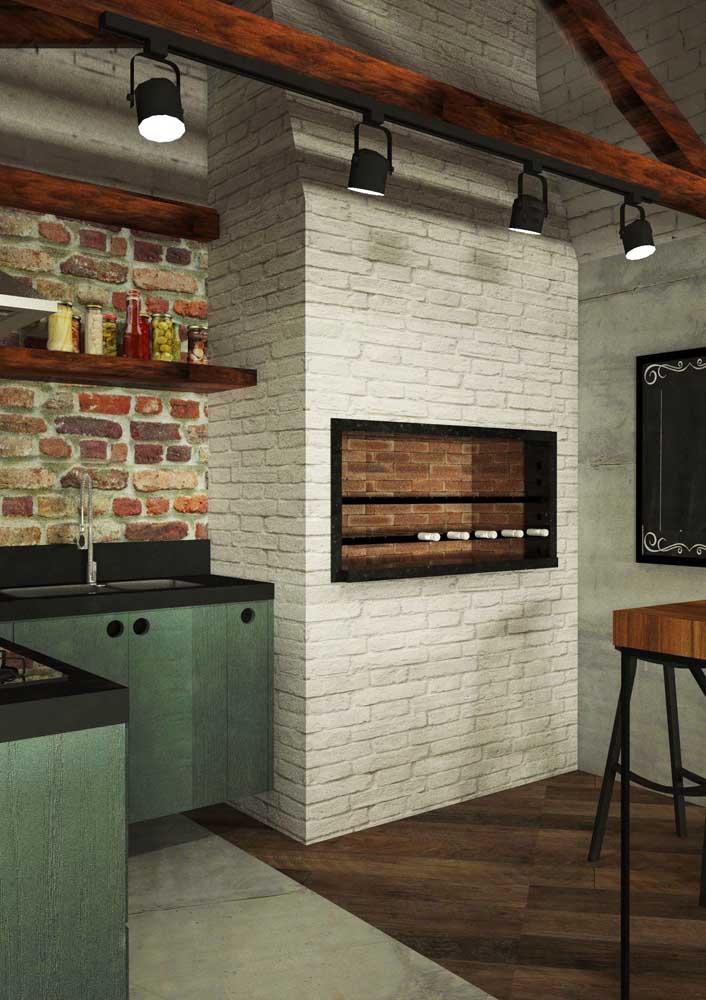 Churrasqueira de tijolo branco para o espaço gourmet moderno e descontraído