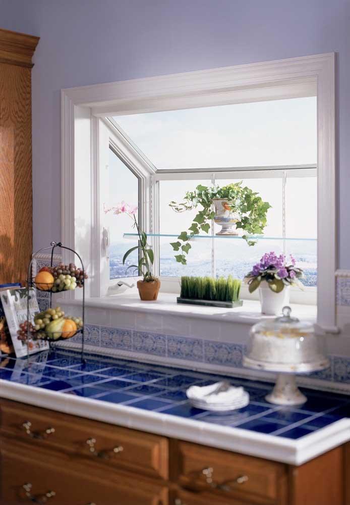 As plantinhas agradecem a presença da Bay Window na cozinha