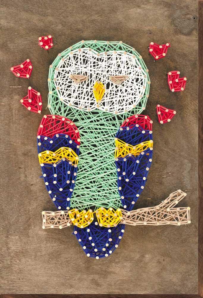 Inspiração para quem ama animais: String Art em coruja no galho