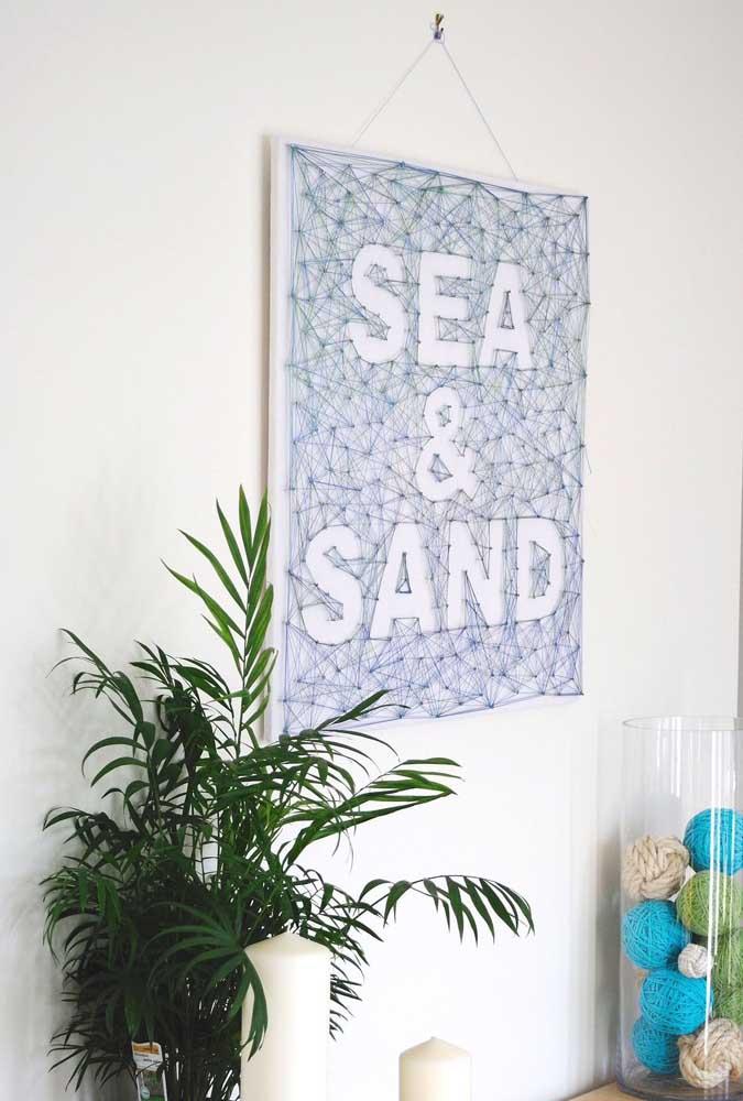 Quadro com frase em String Art; opção perfeita para casas de praia
