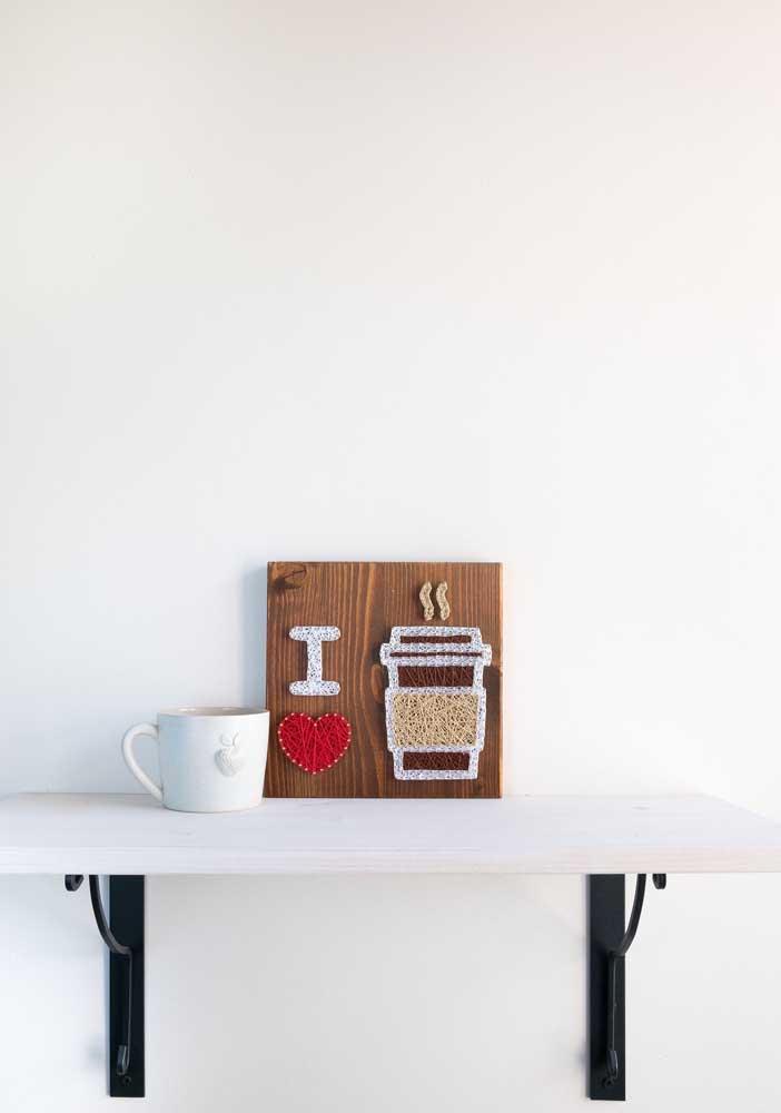 String Art de café, ideal para aquele cantinho da casa