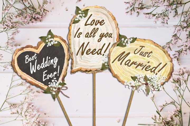 Plaquinhas de casamento em estilo rústico