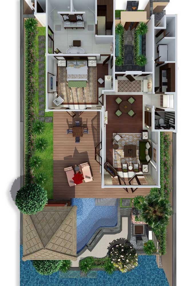 Planta de casa moderna em 3D com hall de entrada, jardim de inverno, deck e piscina com espaço gourmet