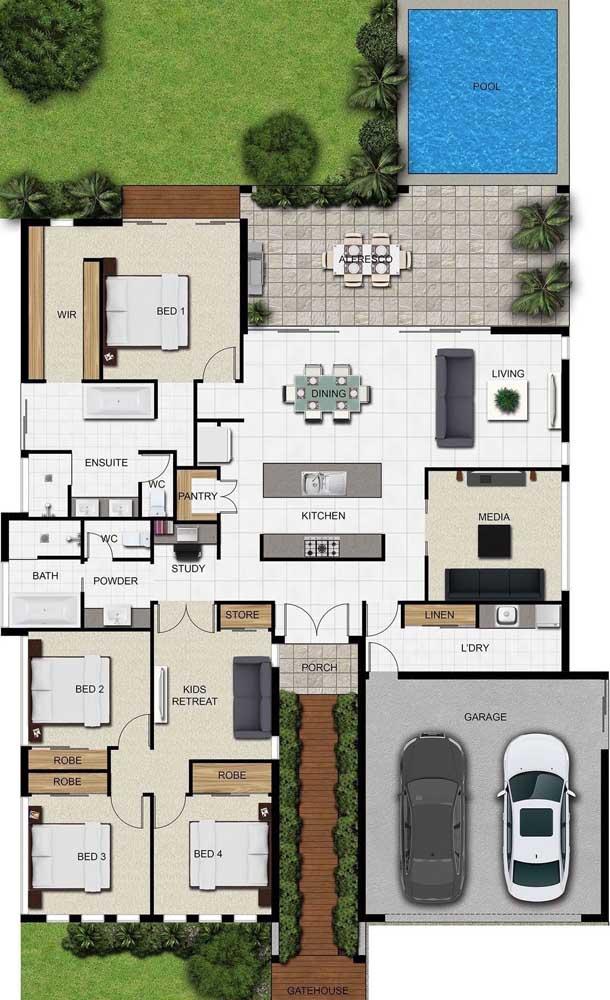 Esse projeto trouxe uma planta com três quartos e uma suíte máster, cozinha aberta e integrada à sala de jantar, piscina e espaço gourmet