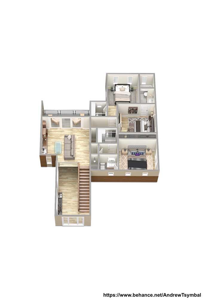 Planta de casa moderna com pé direito duplo no hall de entrada, sala de estar em mezanino e três quartos