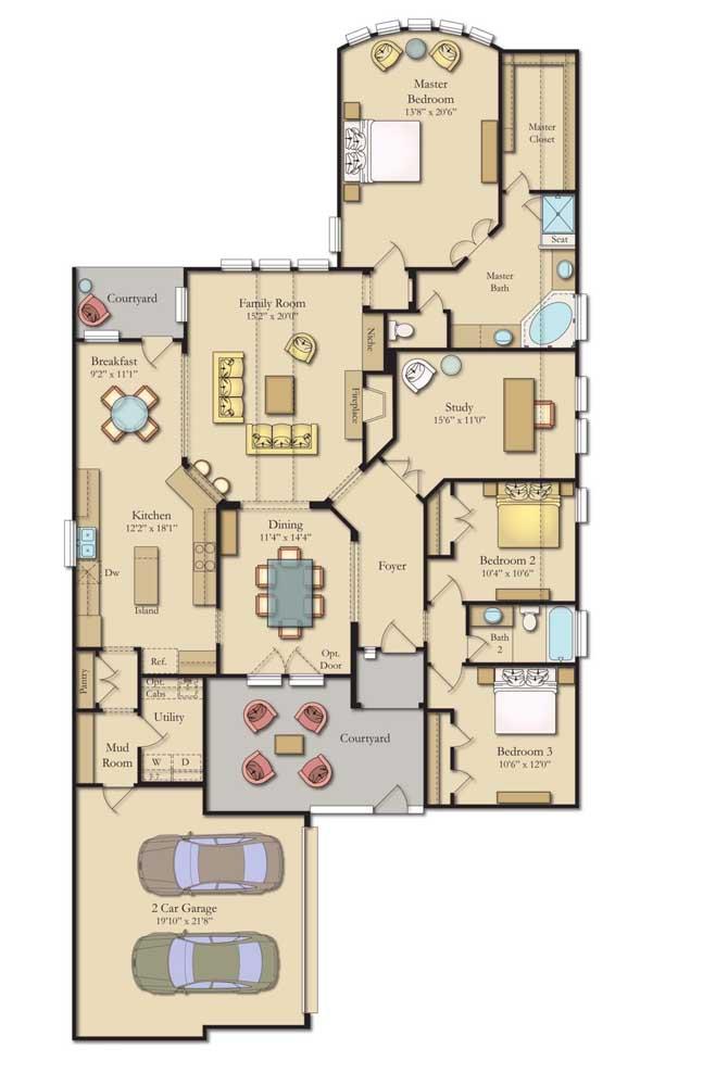 Planta de casa moderna com garagem interna suíte máster, escritório, dois quartos e varanda ampla