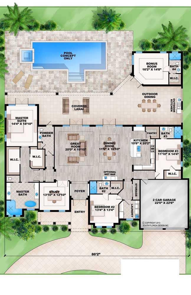 Planta de casa moderna com piscina, garagem interna, varanda gourmet e integração entre os ambientes, suíte máster e dois quartos